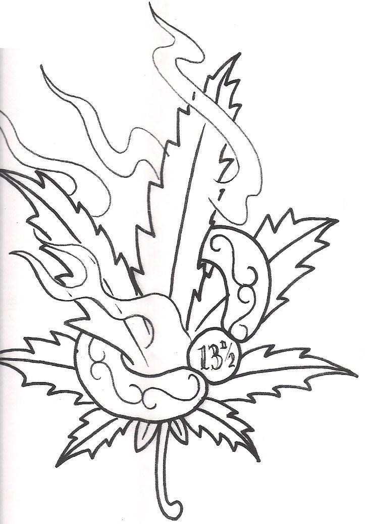 Pot Leaf Tattoo Stencil cool Grass Tattoo Desi...