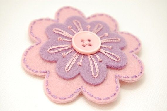 Purple and Pink Scallops Hair Clip by SewSweetStitches $7.50