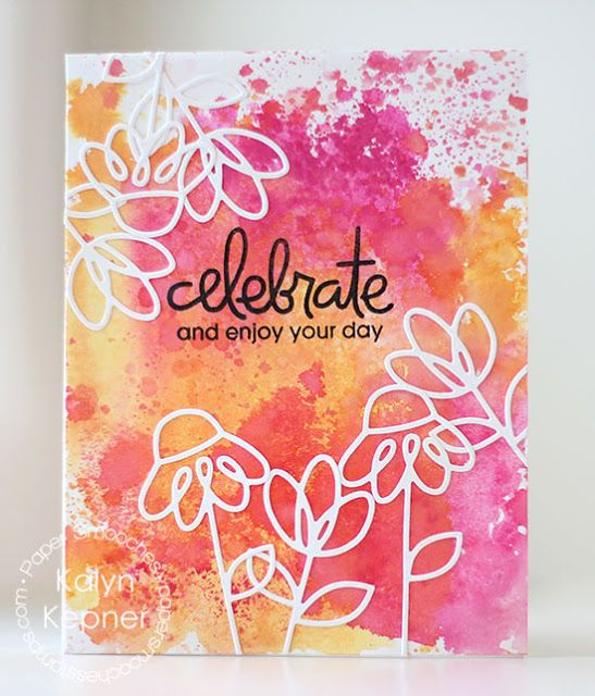 Celebrate #card by Kalyn Kepner for #PaperSmooches #DaintyFlowers