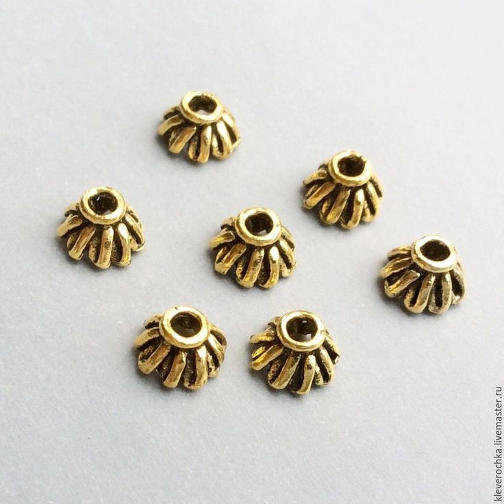 Купить _10 шт/ Шапочки 7,5 мм цвет золото античное для украшений - золотой
