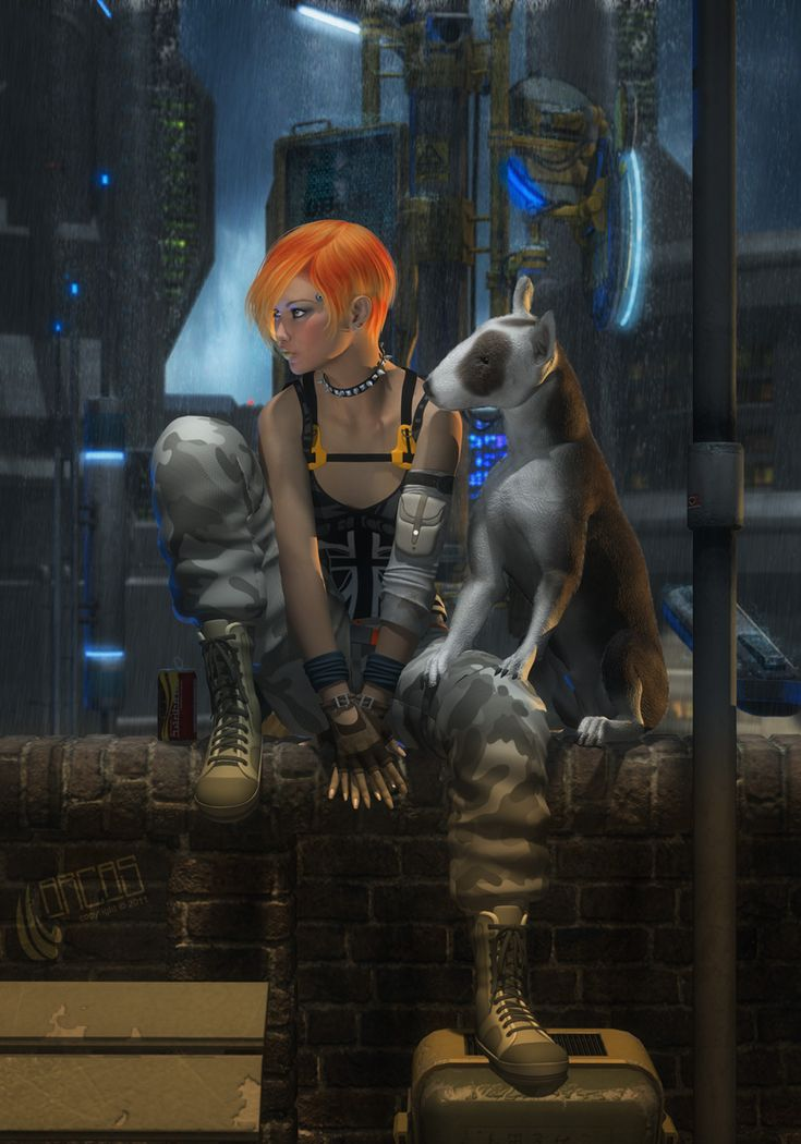 Cyberpunk Character and a K-10 (an enhanced dog).  Cyberlife by Arcas-Art.deviantart.com