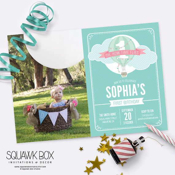 Oh, How Time Flies Hot Air Balloon First Birthday Photo Invitation Set Set includes personalized A7 (5x7) Invitation and A1 (3.5x5) Folded Thank You Card Color Options: Pink Banner or Mustard Yellow Banner Coordinates with Oh, How Time Flies First Birthay Party Collection (links below) Digital File Only. No printed material will be shipped. Please read full product description before purchasing. Ill gladly answer any questions or custom order inquiries through Etsy message. WANT IT…