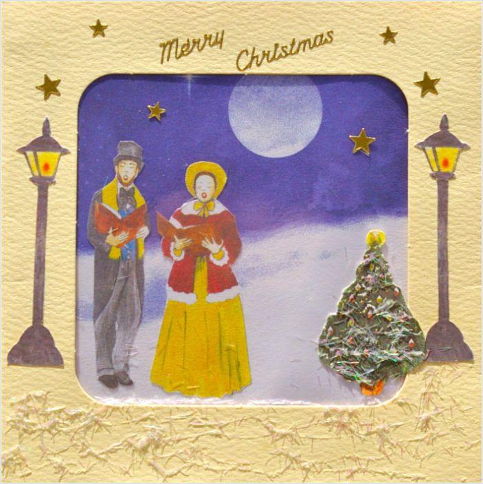Handmade ' Victorian Carol Singers ' , Christmas Card On