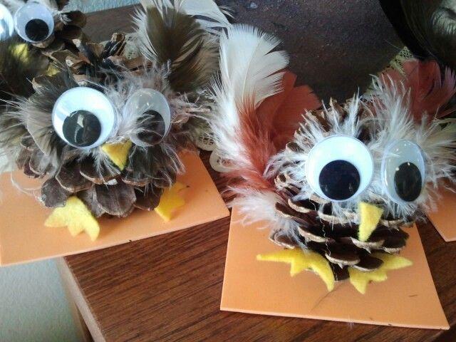 Pinecone owl craft :) . Feathers, felt, big googly eyes, and glue. Easy, fun, and cute!
