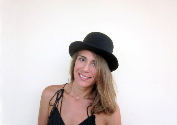 Vintage Style Black Bowler Hat - Merino Wool Felt Handmade Bowler / Derby / Billycock / Bombin / Bob Hat - Men Women