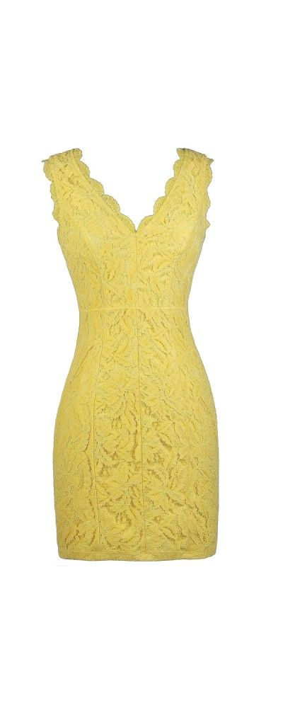 Lily Boutique Camille Lace Pencil Dress in Yellow, $45 Yellow Lace Pencil Dress, Yellow Lace Dress, Yellow Party Dress, Yellow Cocktail Dress www.lilyboutique.com