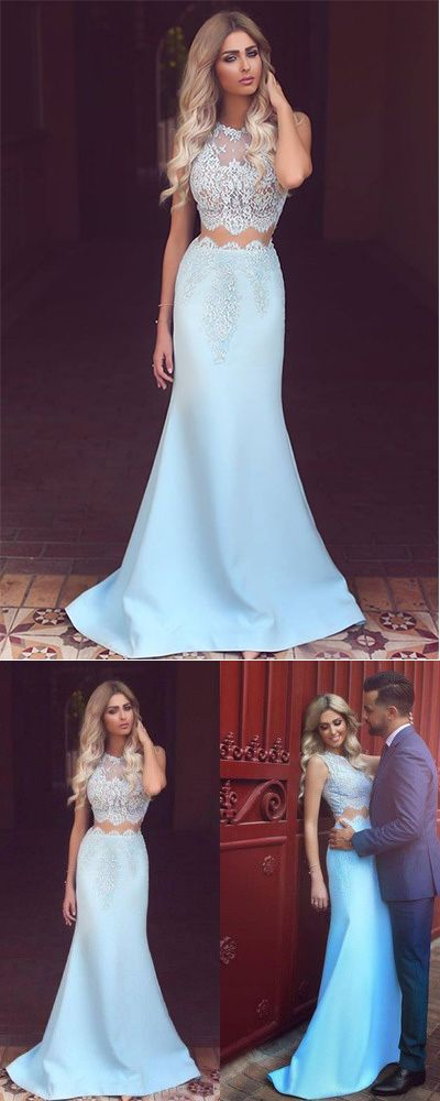 25852c6b64641 Light Blue Two Pieces Satin Evening Dress,White Lace See-through Mermaid  Long Prom Dresses,#twopieces#white#lace#lightblue#promdress#mermaid#simple