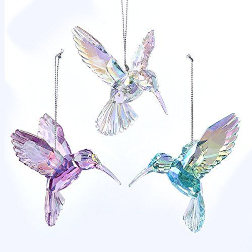 Glass Hummingbird Ornament reflects the colorful lights of your Christmas  tree. This hummingbird ornament is a high quality, individually  hand-crafted glass ...