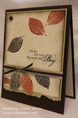"""Supplies (all Stampin' Up!):  Stamps: French Foliage, Happy Harmony  Card stock: Early Espresso, River Rock, Very Vanilla  Ink: Early Espresso, River Rock, Cajun Craze, Pool Party  Accessories: River Rock stitched ribbon, 1/8"""" Early Espresso taffeta ribbon, metallic brad, Dimensionals, sponge"""