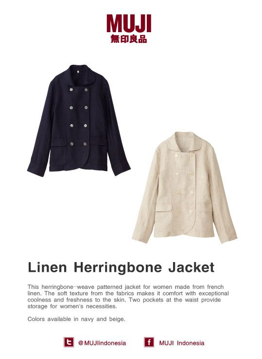 This herringbone-patterned jacket for women made from french linen. Colors available in beige and navy.