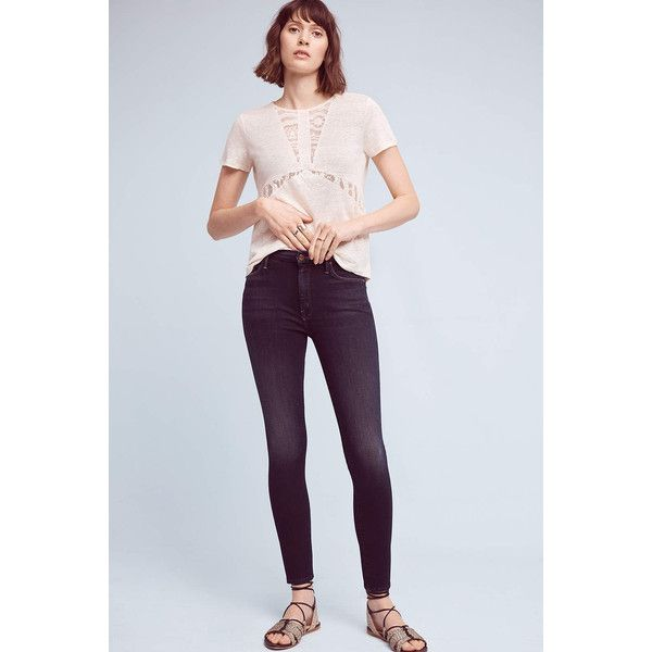 Mother The High Waisted Looker High-Rise Skinny Petite Jeans ($215) ❤ liked on Polyvore featuring jeans, denim dark, dark denim jeans, dark denim skinny jeans, super skinny jeans, skinny fit jeans and petite skinny jeans