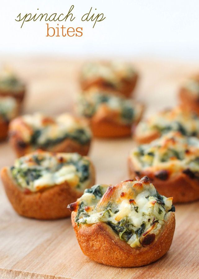 Check out 13 muffin pan recipes that are perfect to prepare for your Christmas or New Year's Eve party like these Spinach Dip Bites | Lil' Luna
