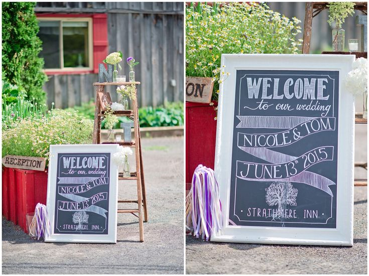 Rustic wedding decor. Chalkboard Welcome sign and antique ladder.