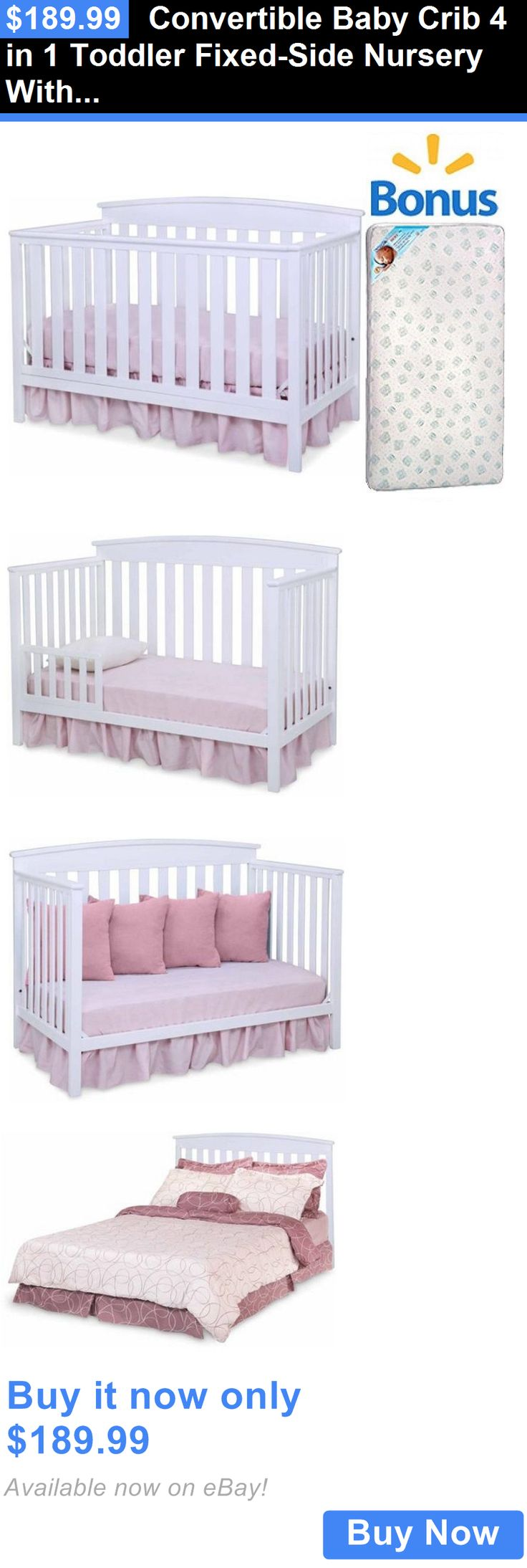 Baby crib youth bed - Baby Nursery Convertible Baby Crib 4 In 1 Toddler Fixed Side Nursery With Bonus