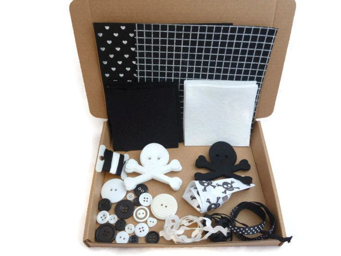 Craft kit pirate DIY felt die cut skull felt shapes starter kit arts and crafts ric rac (7.00 GBP) by NCFeltSupplies
