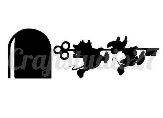 Digitale file Disney muisjes met sleutel Cinderella Assepoester en muizenhol Silhouet Silhouette Cameo Cricut Brother en voor print