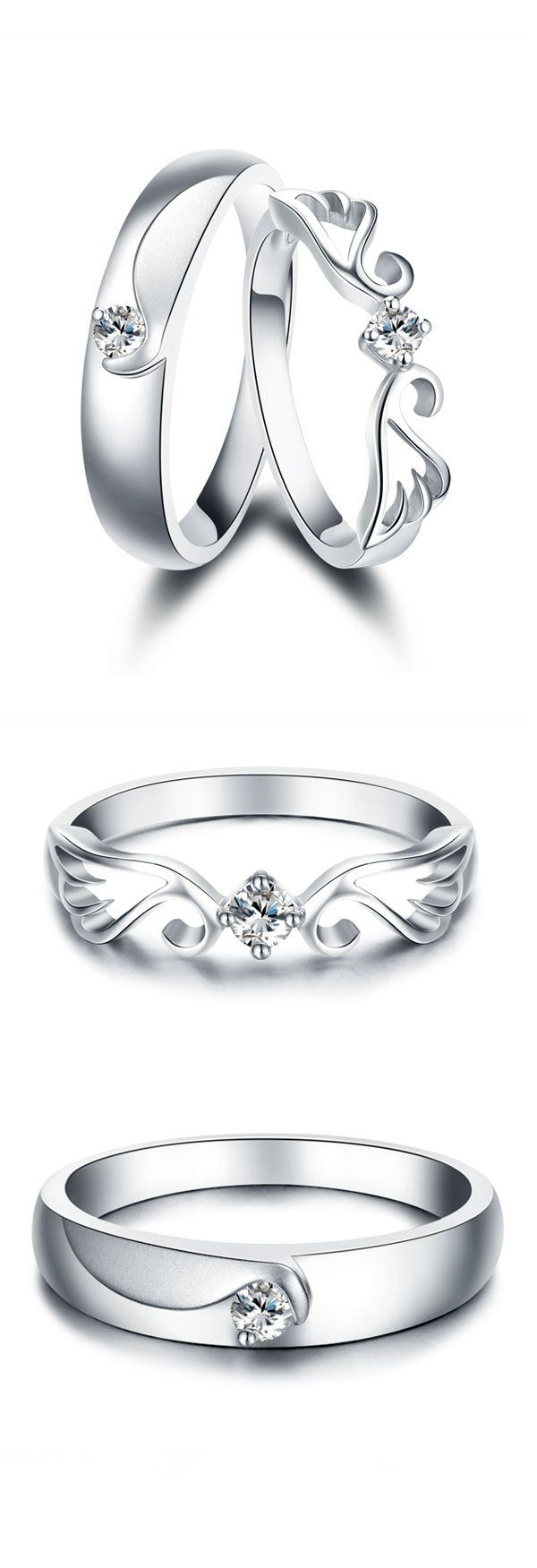 Wing + Crown Promise Rings For Couples