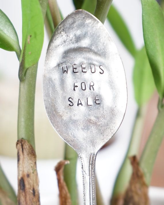 Vintage Hand Stamped Garden Marker Rustic by SweetThymeDesign Vintage Hand Stamped Garden Marker, Rustic Garden Accessory, Upcycled flatware, Gardener Gift, Funny Gift for Friend, Weeds For Sale
