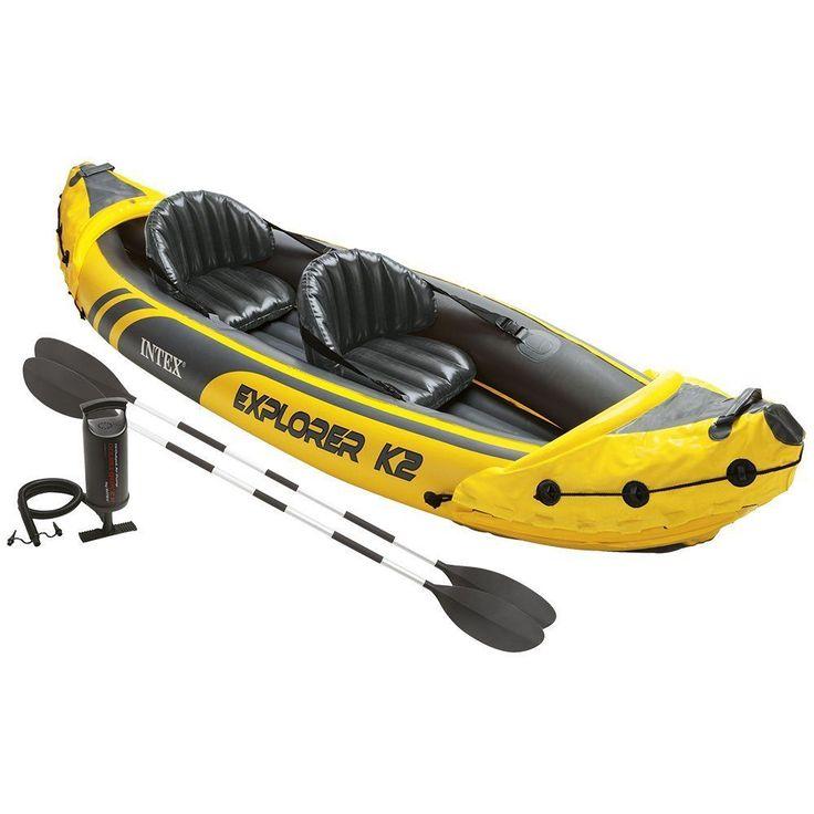 Intex Explorer K2 Kayak, 2-person Inflatable Kayak Set W Aluminum Oars/pump-new #Intex
