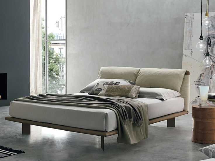 Leather Double Bed With Upholstered Headboard CUDDLE By ALIVAR Design  Angeletti Ruzza Design