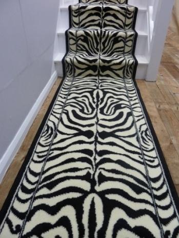 Zebra black animal print carpet runners uk bar for Zebra print flooring