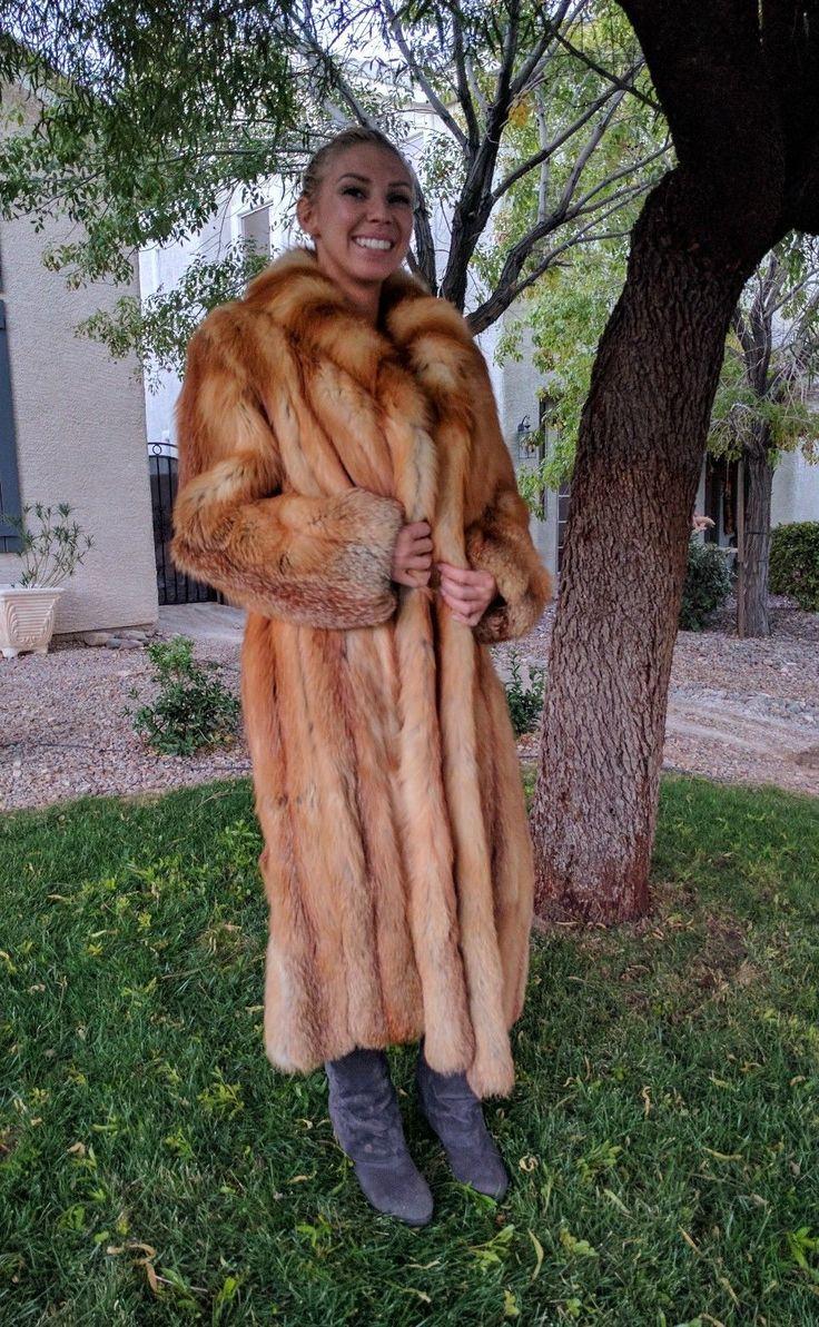 WOMEN'S GENUINE RED FOX FUR COAT FULL LENGTH | eBay