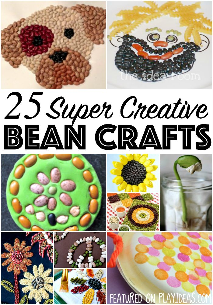 Bigger kids love projects they can take their time with, while littles like simpler, more easy projects. These 25 bean crafts are perfect for all. Enjoy!