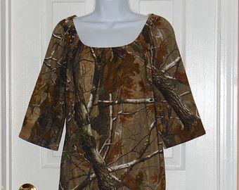 Camo Realtree Mossy Oak Peasant Dress Tunic Women Ladies Size xxs xS s m l xl xxl 2xl 3xl Cotton Top Hunting camouflage jersey knit