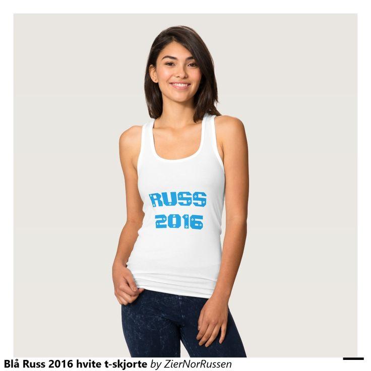 Blå Russ 2016 hvite t-skjorte Jersey Racerback Tank Top
