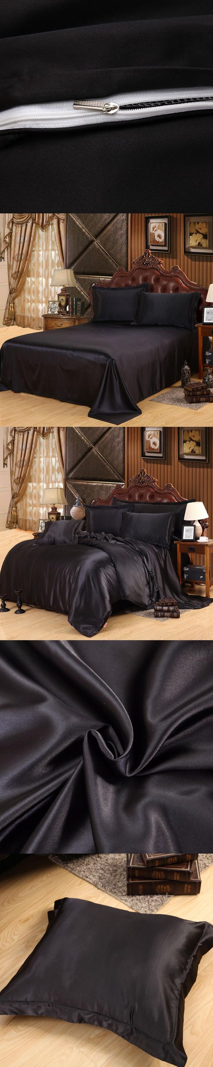 WINLIFE Custom-made Black Bedding Sets Solid Satin 4 Pcs Queen/King Size Home Bedclothes Bed Linen Duvet Cover Set Bed Sheet