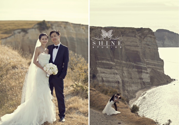 Wedding photos at The Farm at Cape Kidnappers.  Stunning scenery for a memorable day!
