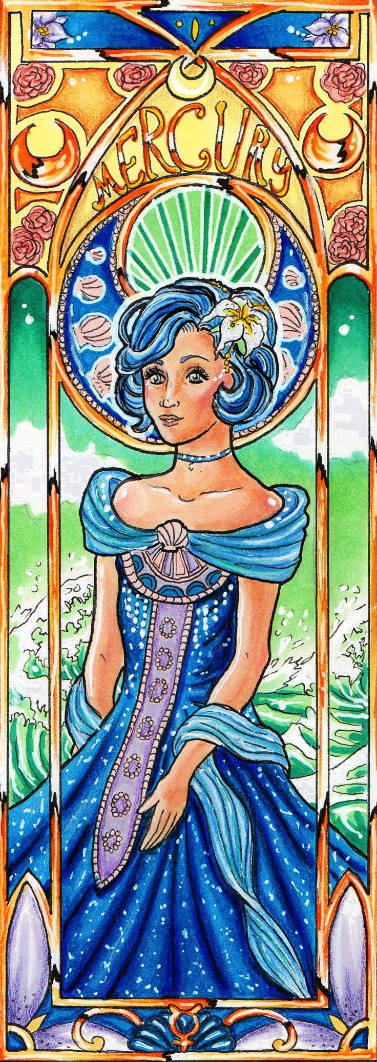 sailor moon art nouveau sailor mercury mucha style by