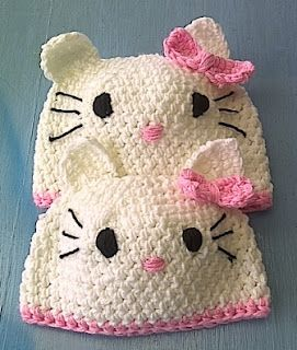 Hello Kitty beanies, not a pattern.  cute idea.  can make from any beanie pattern.