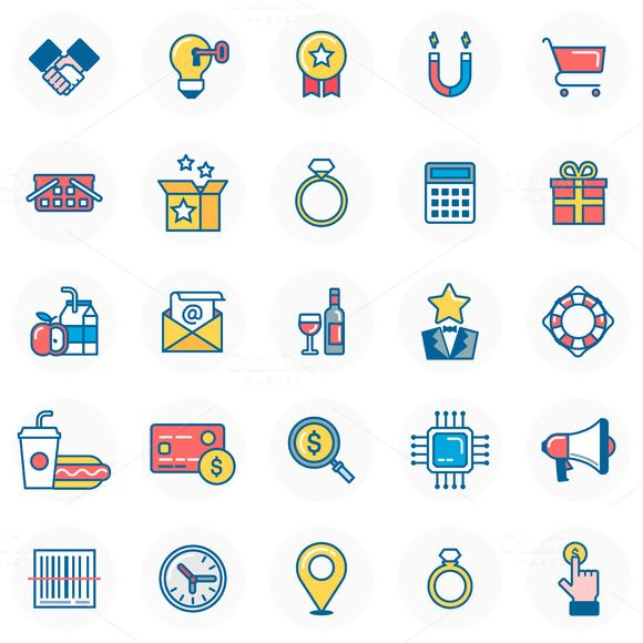 Shopping icon set by howcolour on Creative Market http://crtv.mk/t0P4p