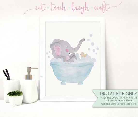 Kids Bathroom Print Elephant In Tub Diy Printable Art Animal