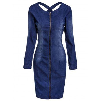 SHARE & Get it FREE | Casual Scoop Neck Long Sleeve Zip Up Slimming Women's Denim DressFor Fashion Lovers only:80,000+ Items·FREE SHIPPING Join Dresslily: Get YOUR $50 NOW!