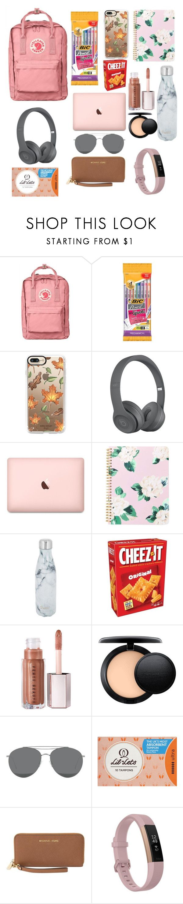 """what's in my bag"" by fashionqueen0220 ❤ liked on Polyvore featuring Fjällräven, Casetify, ban.do, S'well, MAC Cosmetics, Gentle Monster, Michael Kors and Fitbit"