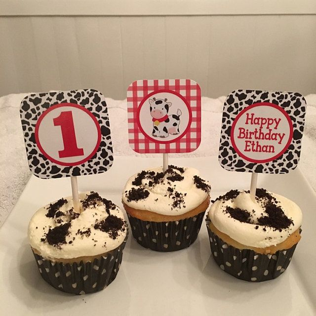 "Cow Birthday Cupcake Toppers - Printable Farm Birthday 2"" Cupcake Toppers"