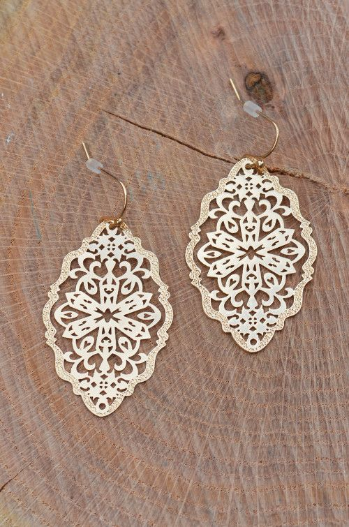 Priscilla Earrings - Groovy's :: $8 :: www.ShopGroovys.com :: light-weight earring, laser cut design, gold earrings (also available in silver)