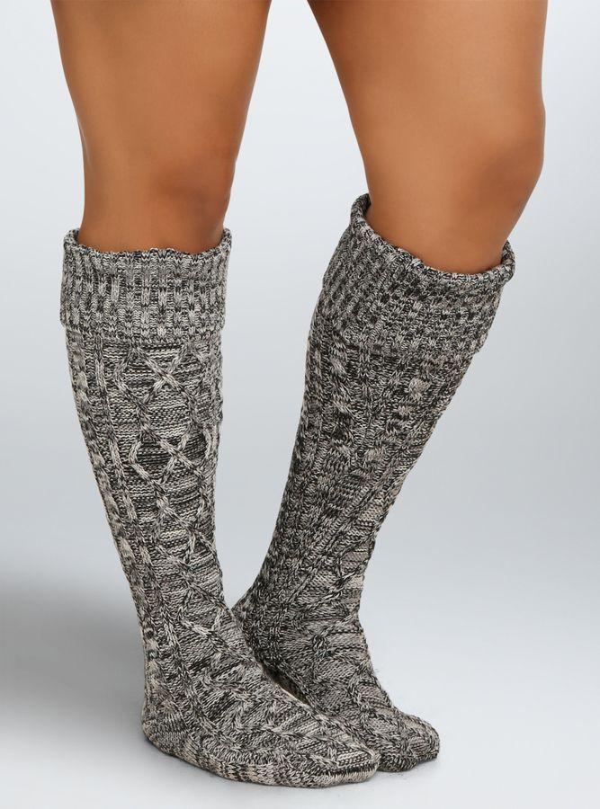 Plus Size Wide Calf Knee-High Boot Socks