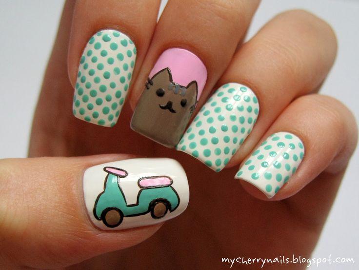Pusheen the Cat, cat, dots, polka dots, motorbike, mint, pink, white, nails, nail art, manicure