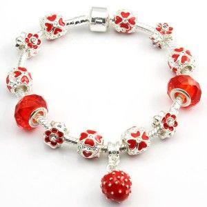 Red Flower Beads Strawberry Pendant Pandora Style Bracelet