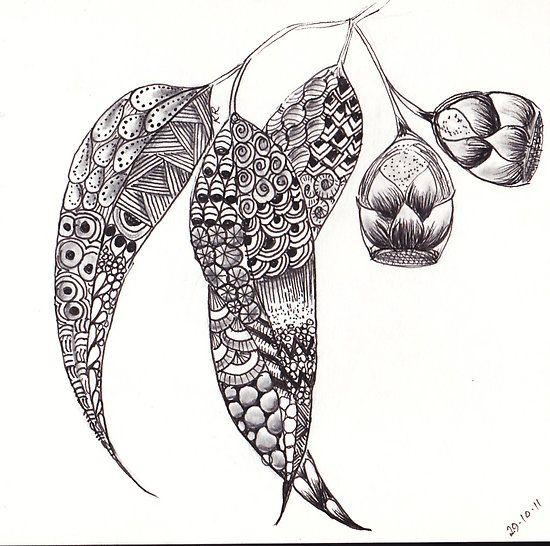 ZenTangle Gum Leaves  by Kerryn Rowe
