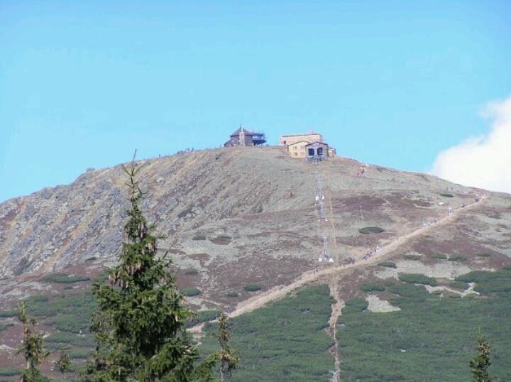 The highest mountain Snezka in Krkonose