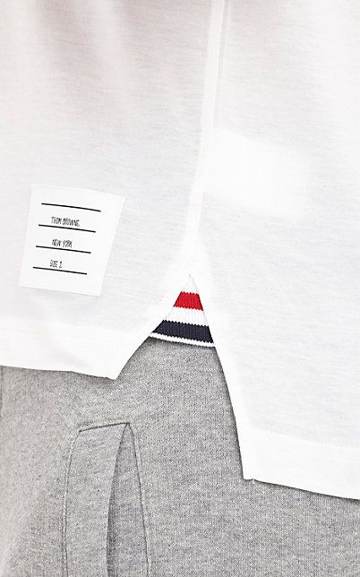 Thom Browne Tri-Color Trim Polo - hem herringbone tape side detail