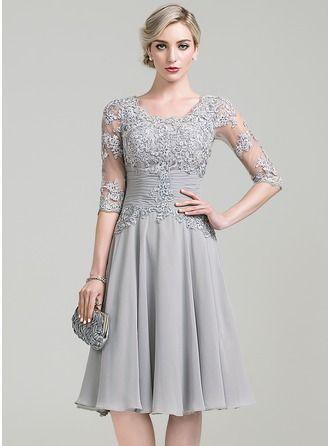Vestidos princesa/ Formato A Decote redondo Coquetel tecido de seda Vestido para a mãe da noiva com Pregueado Apliques de Renda