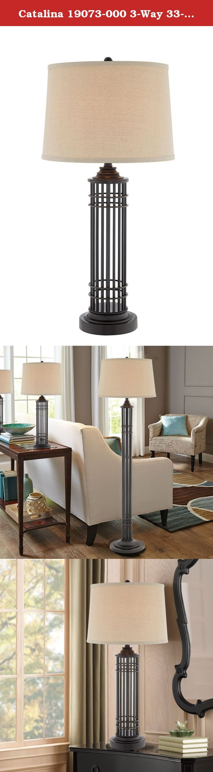 Catalina 19073-000 3-Way 33-Inch Open Cage Metal Table Lamp and Modified Drum Shade. The Catalina 19073-000 3-Way Table Lamp offers a stylish transitional design. The metal table lamp features an open cage design with an oil-rubbed bronze finish and modified drum shade. This lamp is rated for 120-volts and uses a 3-way 150-watt incandescent bulb or 3-way E26 CFL spiral bulb. Bulb not included. The light source is soft and the illumination is pointed downwards. Table lamps are often used…
