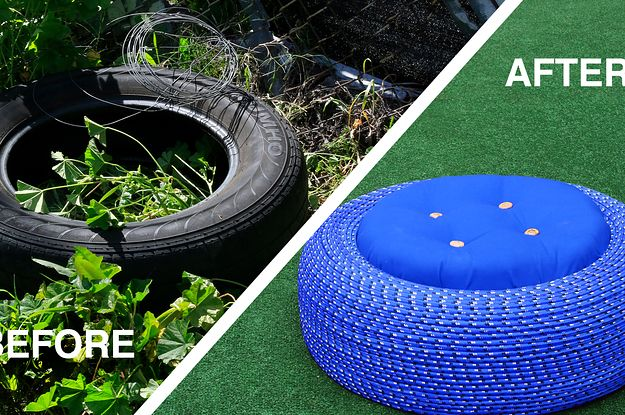 Turn old tires into colorful outdoors storage seats for Diy tire chair