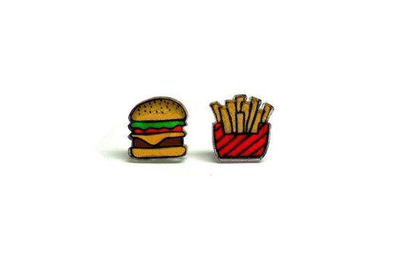 Lil' Burger & Fries, Mismatch Post Earrings
