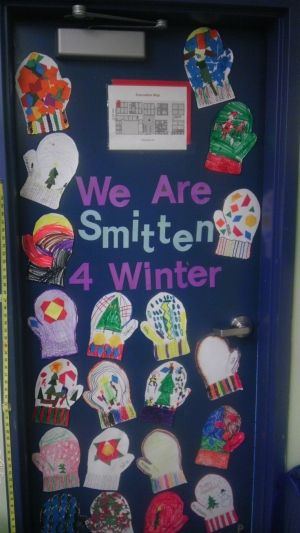 winter bulletin board idea - mittens